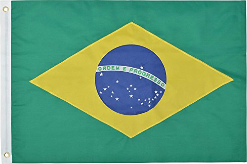Green Grove Products Brazil 3' x 5' Ft 210D Nylon Premium Outdoor Embroidered Brazilian Flag
