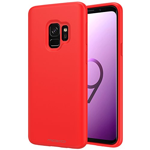 Samsung Galaxy S9 Case, MoKo Liquid Silicone Gel Rubber Slim Fit Shockproof Case with Soft Microfiber Cloth Lining Cushion for Samsung Galaxy S9 5.8 Inch 2018 - Red