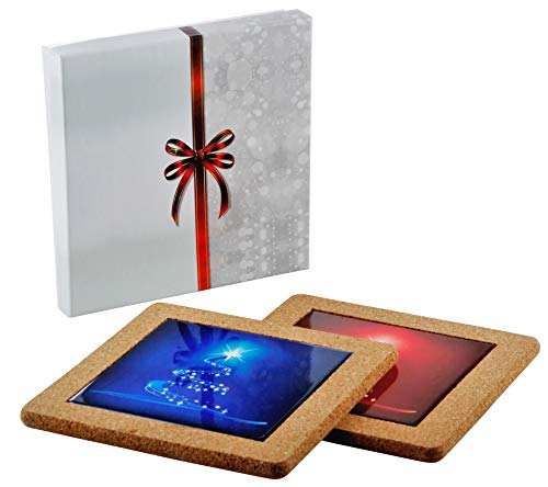 Happy Holidays Merry Christmas Designer Ceramic Trivet Hot Plate Coaster Set (2 Trivets, Red and Blue colors, each 8 X 8 inches) (Trivet Red and Blue) ()