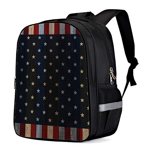 Vintage Retro Wooden American Flag Students Backpack for School Bookbag Casual Shoulder Daypack Travel Back Pack Bags for Teen Boys Girls, Patriotic Stars and Stripes