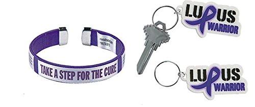 1 Lupus Awareness Keychain & 1 Purple Ribbon Cuff Bracelet, Support pancreatic cancer, Alzheimer's, lupus, animal abuse, Crohn's disease Awareness Key