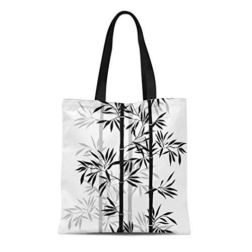 Semtomn Canvas Tote Bag Shoulder Bags Silhouette Black Tree Bamboo Leaf Floral Leaves White Branch Women's Handle Shoulder Tote Shopper Handbag