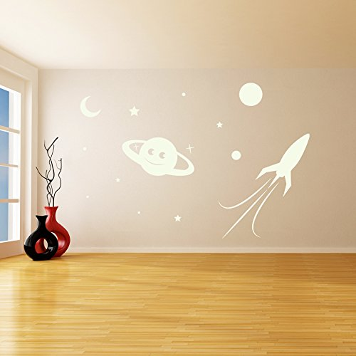 ( 94'' x 64'' ) Glowing Vinyl Wall Decal Planet, Rocket, Stars / Glow in the Dark Sticker / Сrescent Luminescent Mural Kids, Baby Room + Free Decal Gift! by Slaf Ltd. (Image #1)