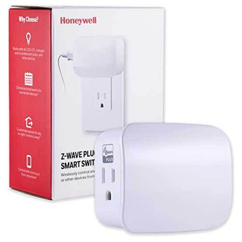 Honeywell Z-Wave Plus Smart On/Off Light and Appliance Switch, Single Grounded Outlet Plug-In | Built-In Repeater Range Extender| ZWave Hub Required - SmartThings, Wink, and Alexa Compatible, 39337