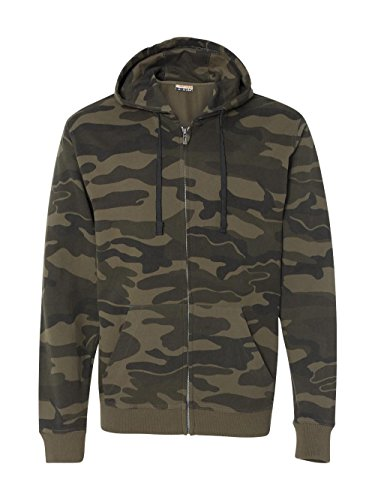 Hoodie Green Camo - Burnside Camo Full-Zip Hooded Sweatshirt.B8615 - Medium - Green Camo