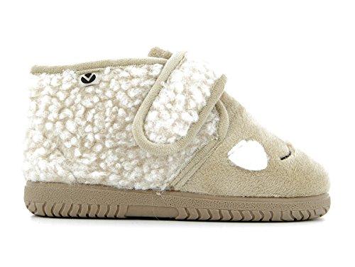 Victoria Bota Velcro Animales - Zapatos de primeros pasos Bebé-Niños Beige (Beige)