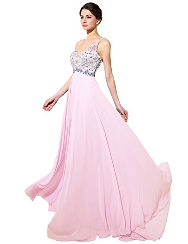 Belle House Long Pink Evening Gown Beading Rhinestones Prom Dancing Dresses