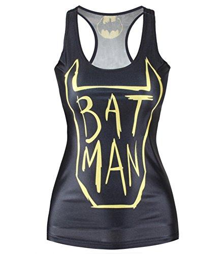 Zanuce Fashion Women Batman Printed Sleeveless T Shirt Vest Tank Tops (Batman Costumes Cheap)