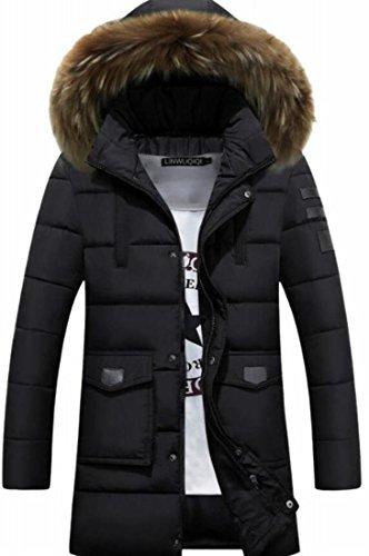 Casual Mens Solid Fur TTYLLMAO Up Zipper Coat Hood Faux Parka Down Black qwx70xT