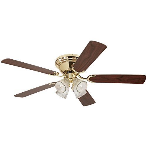 (Westinghouse Lighting 7216500 Contempra IV 52-Inch Polished Brass Indoor Ceiling Fan, Light Kit with Clear Ribbed Glass, Includes Bulbs)