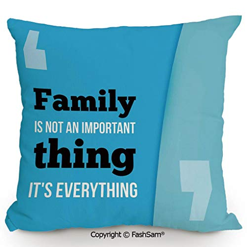 Home Super Soft Throw Pillow Family is Everything in Quotation Marks Inspirational Phrase Modern Design for Sofa Couch or Bed(16