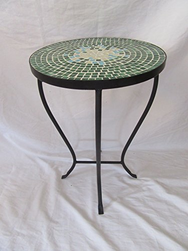 Green Mosaic Black Iron Outdoor Accent Table 21