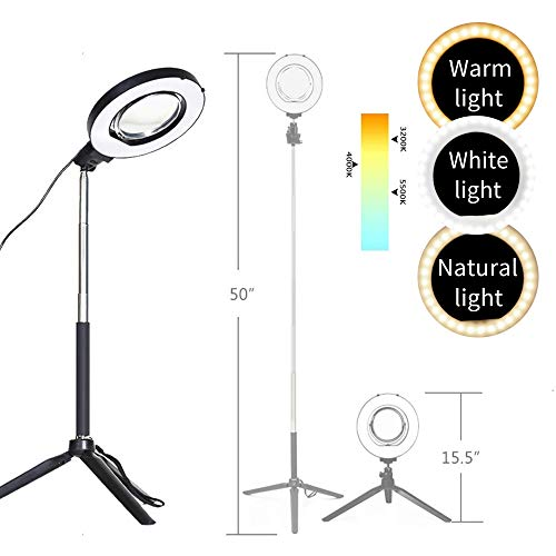 Dimmable Ring Light with Adjustable Height Light StandSelfie Stick and USB Plug,6
