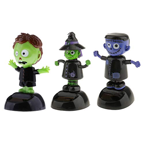 Fityle 3Pcs Solar Powered Dancing Animal Toy Witch Ghost Halloween Bobblehead Bobble Head Bobbling Dancing Toys, Desk Office Car Dashboard Figure