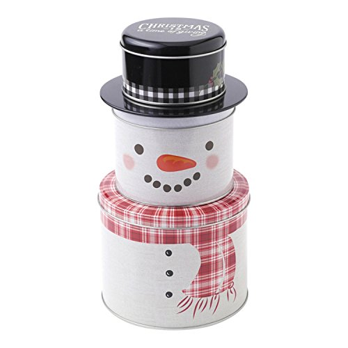 Hallmark Home Holiday Stacked Snowman Tin with Red Scarf and Black Hat (Set of 3)