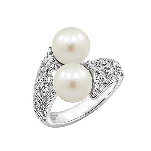 J'ADMIRE 0.3 Carat Swarovski Zirconia Antique Bypass Ring and Freshwater Cultured Pearl Ring Size 6, Platinum Plated Sterling Silver