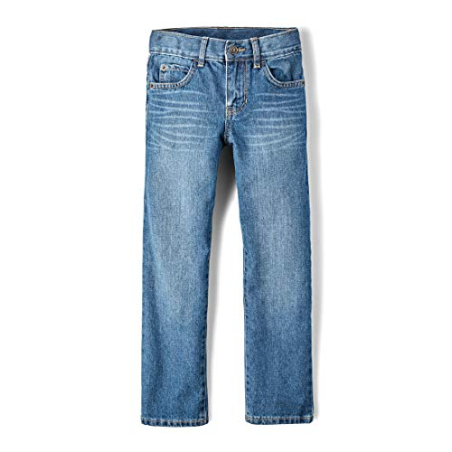 The Children's Place Big Boys' Straight Leg Jeans, Carbon, 10 Slim
