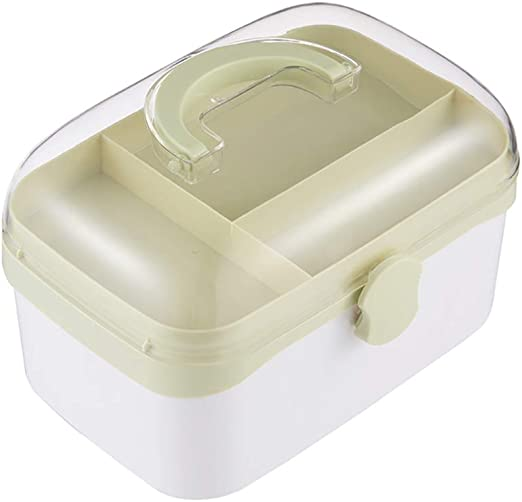 FVAL Botiquín de Primeros Auxilios Caja de Pastillas vacía para Medicina portátil Caja de plástico Transparente para Uso doméstico Doble Capa Transparente para Farmacia Familiar.: Amazon.es: Hogar
