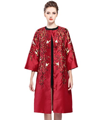 Tortor 1Bacha Women Lady Tree Bird Embroidered Silk Satin Trench Coat Jacket Red 4-6