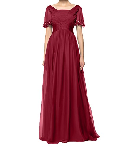Festlichkleider Abendkleider Partykleider Rot Brautmutterkleider mit Chiffon Charmant Langes Ballkleider Kurzarm Damen Dunkel BIZxYqg