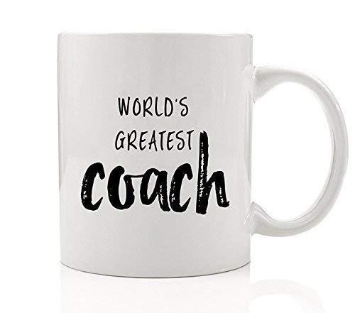 World's Greatest Coach Coffee Mug Gift Idea Girls Boys College High School Basketball Baseball Football Soccer Hockey Gymnastics Team Sports Athletics 11 oz Ceramic Tea Cup by Digibuddha DM0136