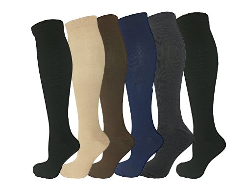6 Pairs Knee High Graduated Compression Socks For Women and Men - Best Medical, Nursing, Travel & Flight Socks - Running & Fitness - 15-20mmHg (L/XL, Assorted 2)