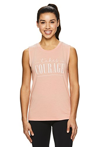 Nicole Miller Active Women's Graphic Muscle Tank Top - Sleeveless Workout & Gym Shirt - Mellow Rose Takes Courage Pink, Large (Bras Nicole Miller)