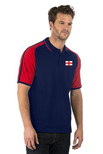 England Saint Georges Flagge Emblem Aufgeld Sportlich Kontrast Polo Hemd - England Premium Sport Polo Shirt - Herren & Damen - Farbe Marine Blau und Rot - XS bis 3XL