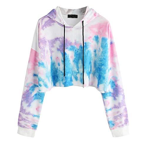 COOKI Women Teen Girls Crop Sweatshirt Patchwork Tie Dye Long Sleeve Crop Top Hooded Sweatshirt Jumper Pullover Tops Hoodies