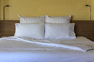 100% Cotton 400 Thread Count Sateen 2cm stripe Duvet Cover in Super King Size