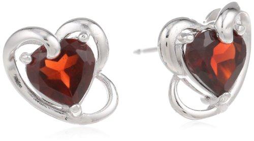 Sterling Silver Genuine Garnet Heart Stud Earrings -
