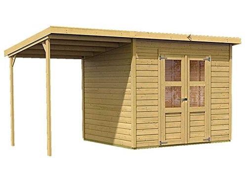 Karibu Gartenhaus Florenz 5 mit Schleppdach natur SPARSET mit selbstklebender Dachbahn