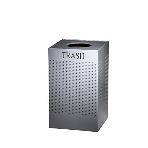 Rubbermaid Commercial SC18EPLSM Designer Line Silhouettes Receptacle, Steel, 29gal, Silver Metallic