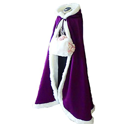 Purple Long Wedding Cloak with Hooded Cape Winter Fur Trim and Hand Muff 55 Inches (Trim Hooded Cape)