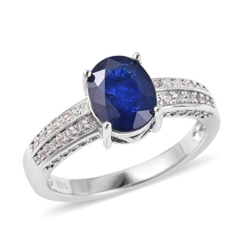 Promise Ring 925 Sterling Silver Diffused Blue Spinel White Zircon Jewelry for Women Size 7 Ct 2.1