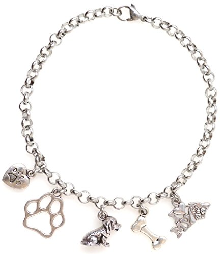 "Dog Bone Link (Adjustable 8.5"" Stainless Steel Bracelet Puppy Heart Paw I Love My Dog Bone Paw Personalize with Clip on Charms (3D Dog Set) SSRB 69G)"