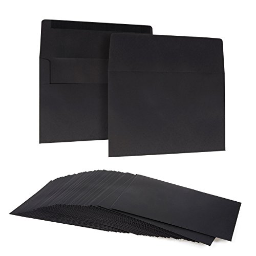 50 Pack Black A7 Envelopes for 5 x 7 Greeting Cards and Invitation Announcements - Value Pack Square Flap Envelopes - 5.25 x 7.25 Inches - 50 Count