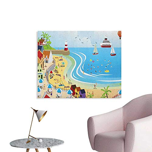 Anzhutwelve Beach Corridor/Indoor/Living Room Tropical Summer Holiday Destinations Cartoon Style Town Illustration Ships Balloon Custom Poster Multicolor W32 xL24