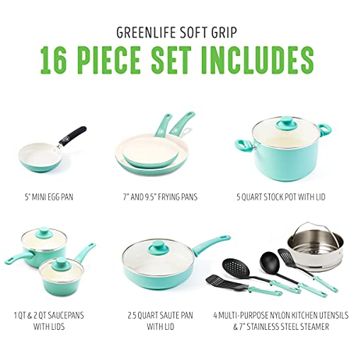 GreenLife Soft Grip Healthy Cookware Pots and Pans Set, 16 Piece, Turquoise