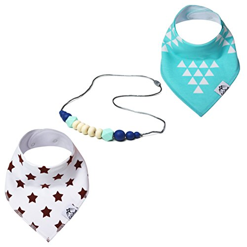 Baby shower gift set- Silicone Teething Necklace for Mom and 2 Organic Cotton Bibs