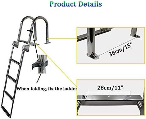 Escalera Telescópica de 4 Escalones, Montaje Deslizante Debajo Plataforma de Embarque Escalera con Tornillos de Montaje: Amazon.es: Bricolaje y herramientas