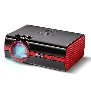 Proyector Paick Vídeo Proyector 2200 Lúmenes Multimedia LED Proyector de Cine en casa Compatible con HD 1080p HDMI VGA AV USB TF teléfono ...