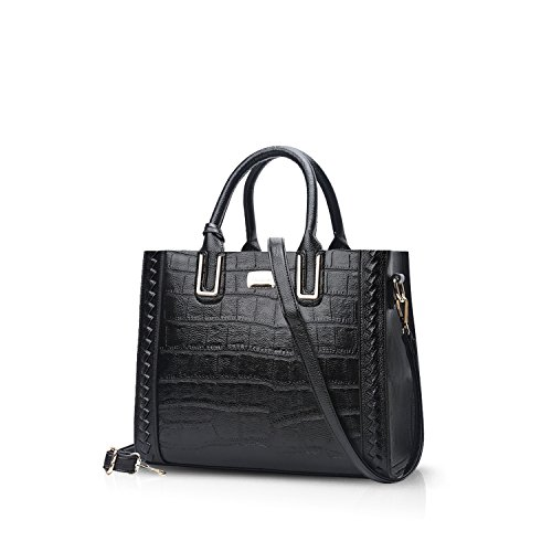 NICOLE&DORIS Luxury Women Top-handle Handbags Shoulder Bag Crossbody Bag Tote Satchel Purse Crocodile Pattern PU Leather Black (Detail Purse)