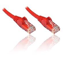 Premium Cord - Cable de Pares Trenzados UTP (RJ45, Nivel 5e, 0,25 m), Color Rojo