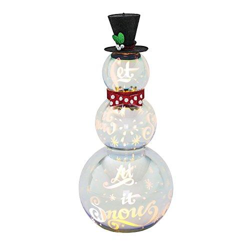 Evergreen Snowman - Evergreen Stargazing Let It Snow Silver LED Glass Snowman Statue