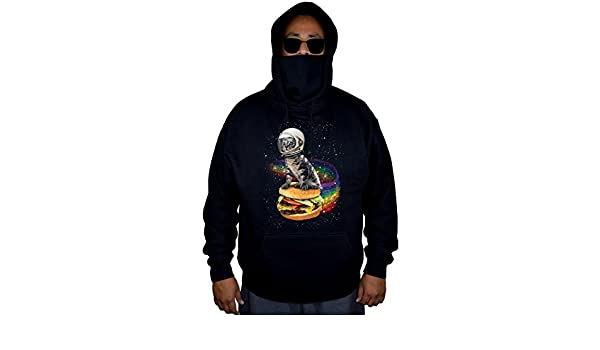 Interstate Apparel Mens Galactic Cat Black Mask Hoodie Sweater