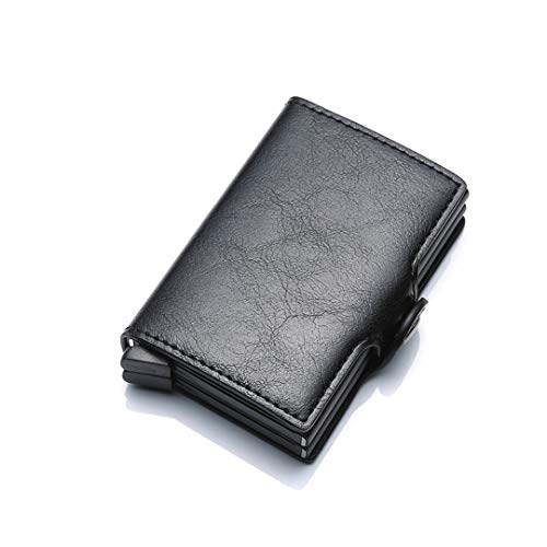 (SaoLangtame Aluminium RFID Wallet Male Small Coin Purse Men Leather Wallet Pocket Money Card Protection ID Credit Card Cases Black)