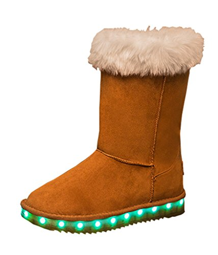 (SPN Women's Snow shoes LED light shoes warm shoes USB charging Flashing boots)