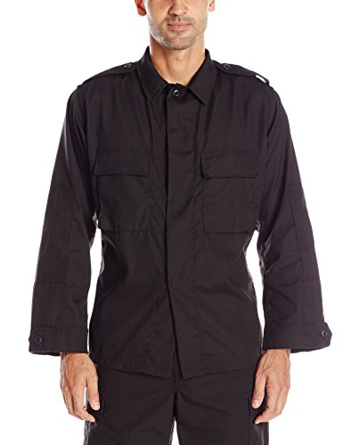 Tru-Spec Men's Lightweight Long Sleeve Tactical Shirt, Black, Small Regular ()