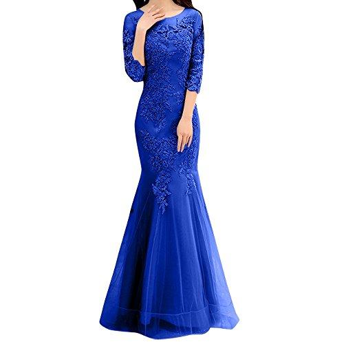 Meerjungfrau Dunkel Etuikleider Royal Damen Trumpet Rosa Festlichkleider Spitze Blau Abendkleider Langarm Charmant 5zq7wFff